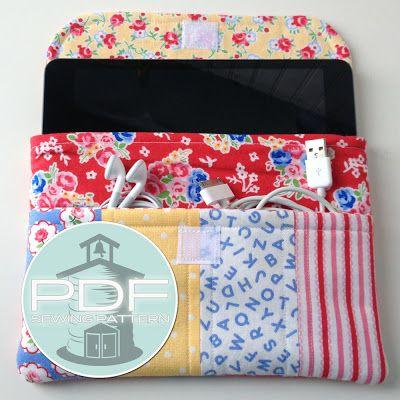 gabinete mini luva padrão iPad embreagem costura - bolso - PDF