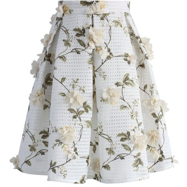 Chicwish Let's Blossom on a Mesh Skirt found on Polyvore featuring skirts, chicwish, white, evening skirts, flower skirt, honey comb, white knee length skirt and mesh skirt