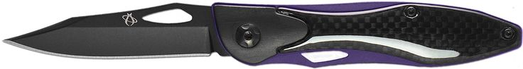 "Mantis Knives MT2 -Ti ""Classiest Act"" High Tech Folding Blades Knife, Black/Purple. The flagship of the MT2 lineup. The carbon fiber handles show just how classy this knife really is. The action is indicative of a far more expensive piece."