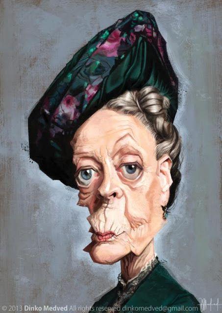 Maggie Smith por Dinko Medved - Caricaturas de Famosos