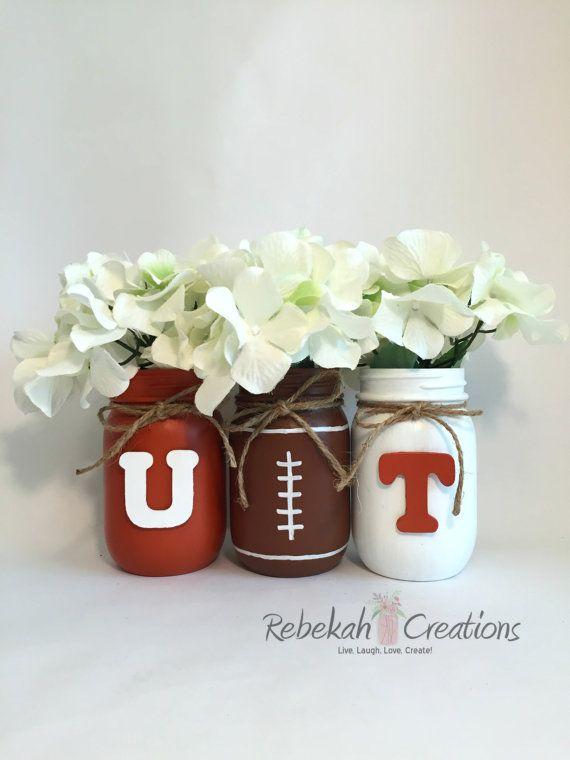 University of Texas Mason Jars, Hook Em, Texas Longhorns, UT, Burnt Orange and White, College Football Mason Jars