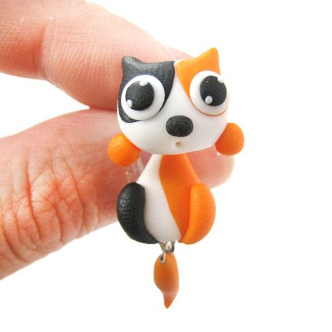 handmade-kitty-cat-animal-two-part-polymer-clay-stud-earring-in-white-and-orange_large