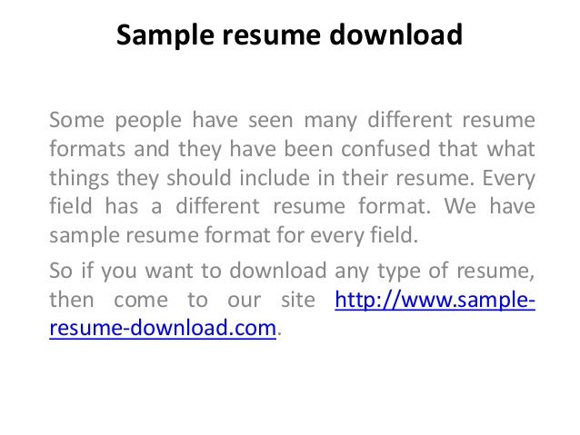 65 best sample resume download images on Pinterest Sample resume - format of resume download