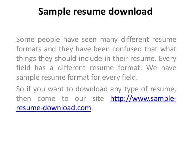 65 best sample resume download images on Pinterest Sample resume - download resume