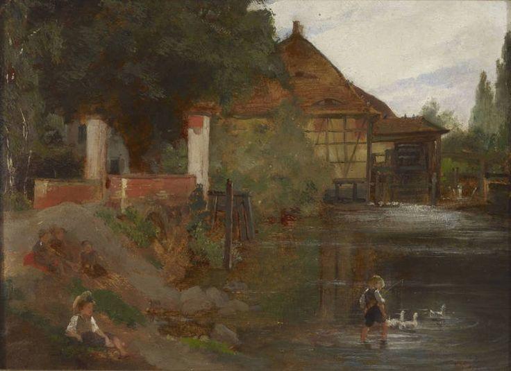 Milldam, Landscape in Germany 1869 - oil on board - Myllypato, maisema Saksasta 1869 - öljy pahville - Churberg, Fanny Maria - Ateneumin taidemuseo