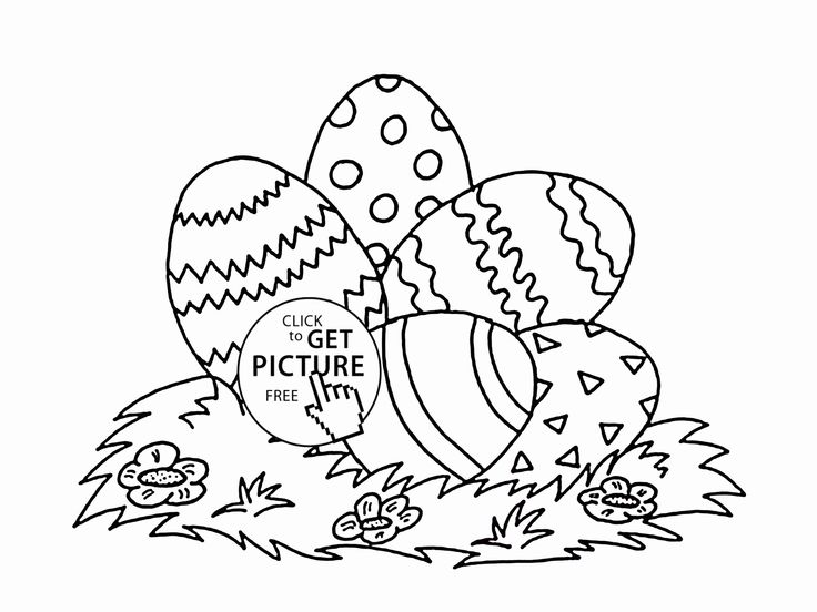 Five Easter Eggs Coloring Page For Kids, Coloring Pages