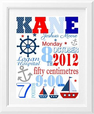 Brash Designs Personalised Art, Birth Announcements