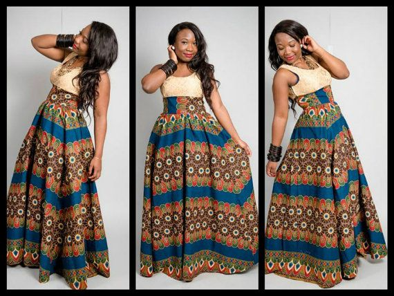 long african ankara dress. <3 <3 <3 I lie the color combination of top and skirt! :)