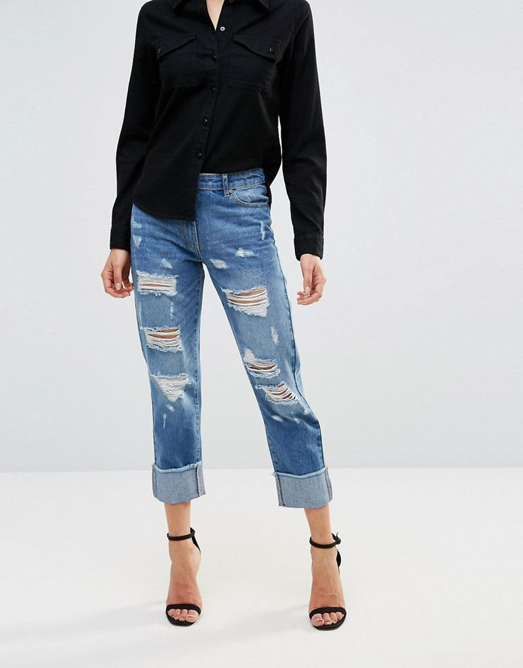 Parisian Ripped Boyfriend Jeans With Turn Up Hem - Blue - I love that these aren't super skin tight