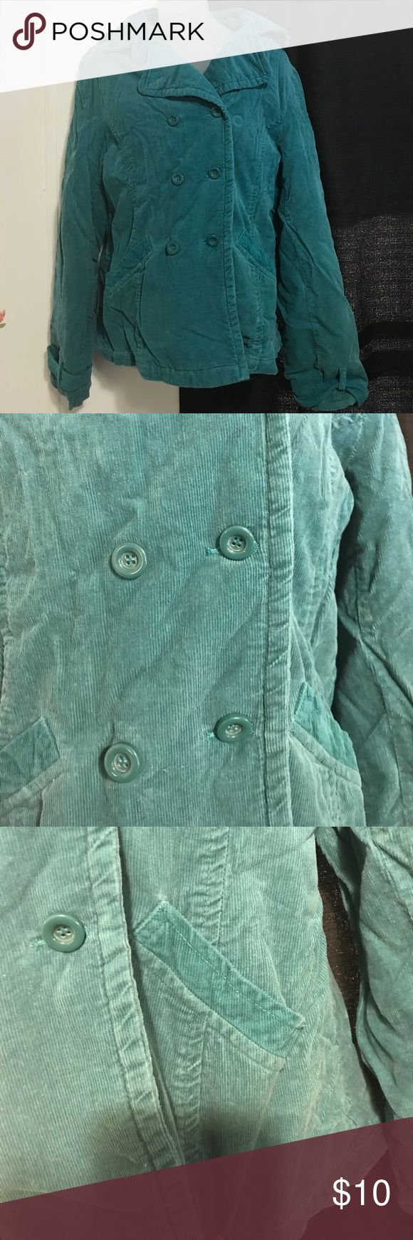 Corduroy teal pea coat style Cute teal corduroy by long elegant legs lined with100% polyester padding 100% polyester shell 100% cotton Long Elegant Legs Jackets & Coats