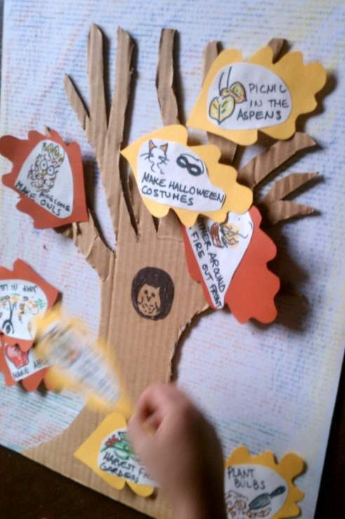Leaves fall as you do each activity on this fun fall activity tree