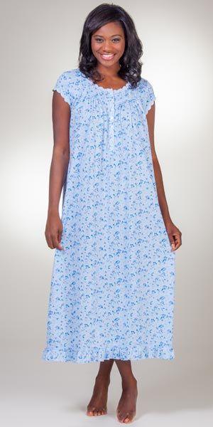 Eileen West Cotton Knit Short Sleeve Ballet Nightgown - Coastal Cascade