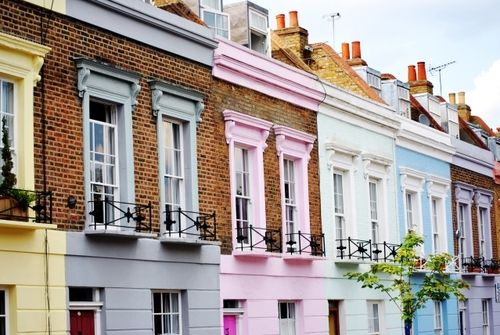 Pastel houses in Notting Hill.