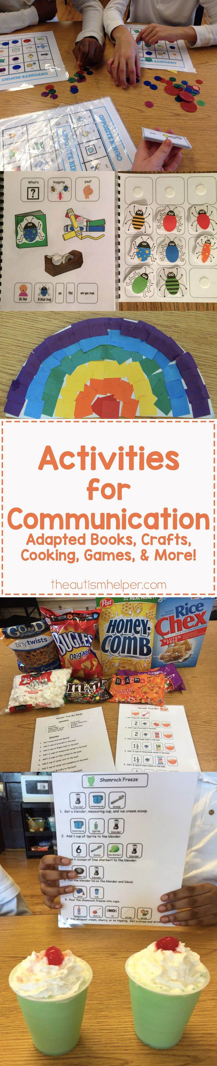 It's time to share some AWESOME activities you can include in your classroom to target communication! Thanks Sarah the Speech Helper! From theautismhelper.com #theautismhelper