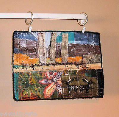 Ciervo-de-medios-mixtos-textiles-Collage-de-Arte