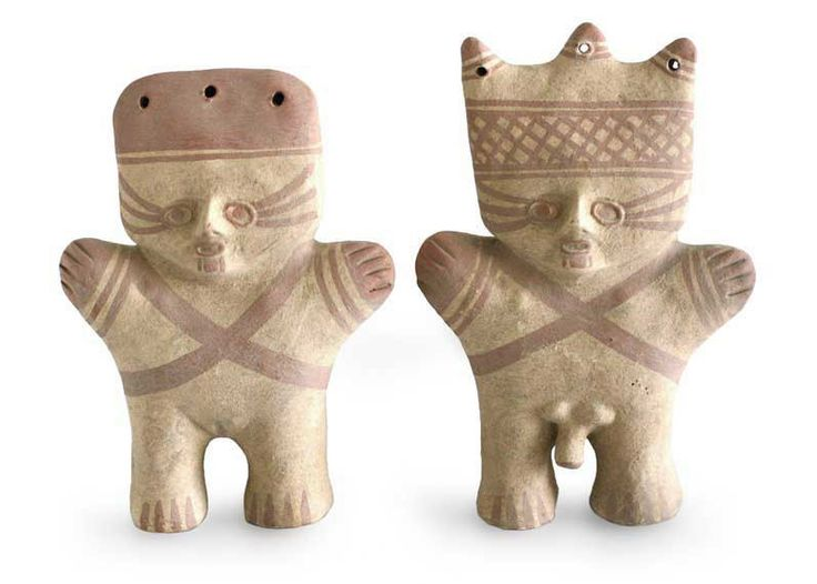 2 Piece Cuchimilco Protection Ceramic Figurine Set