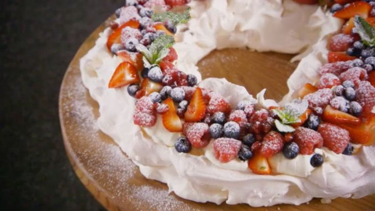 This Christmas pavlova recipe by Mary Berry is featured in the Season 3 Masterclass: Christmas episode of the Great British Baking Show.