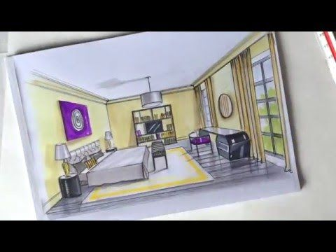 Интерьерный скетчинг. построение комнаты. - YouTube