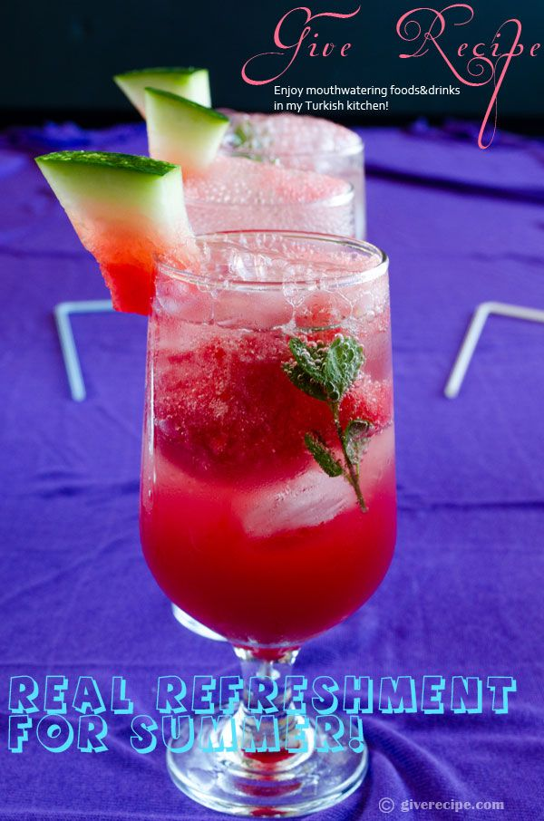 Prepare a summer drink with pureed watermelon, natural mineral water, ice cubes and fresh mint leaves to beat the heat!