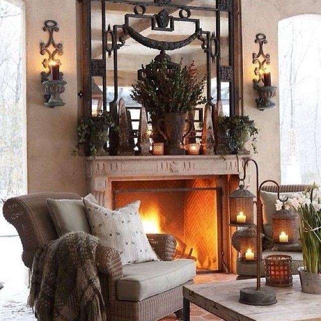 #интерьер #дизайн #камин #декор #свечи #кресло #уютно #тепло #огонь #каминная #зеркало #свет #мягкий #стол #уют #комната #бра #стиль #kashtanovacom #interior #decor #design #style