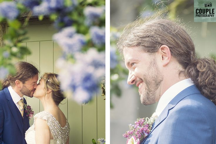 A romantic kiss. Weddings at Ballymagarvey Village photographed by Couple Photography.