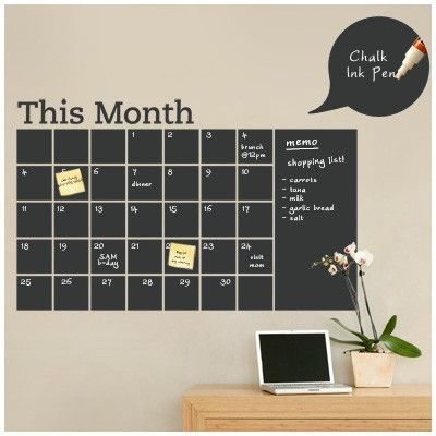 SimpleShapes Calendar with Memo Chalkboard Wall Decal
