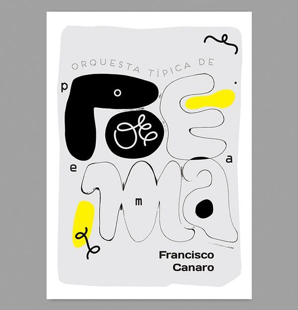 Tango argentino orchestra typographic poster: Francisco Canaro