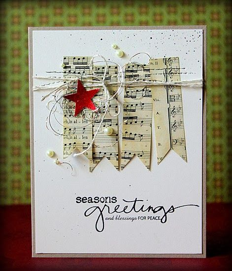 Chrismas card - music paper banner twine