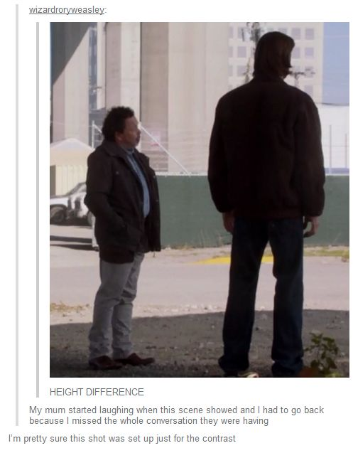 Height difference. That's hilarious!