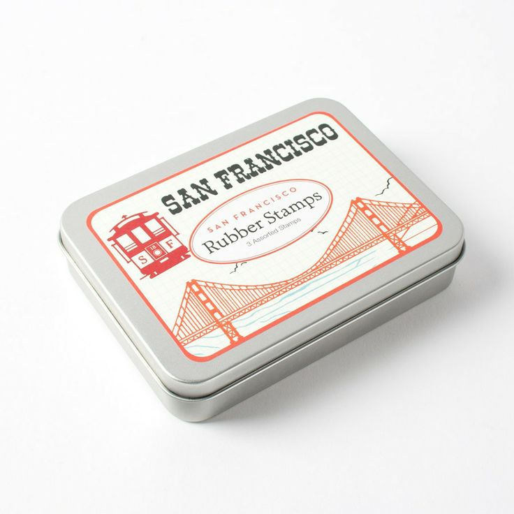 San Francisco Rubber Stamp Tin by Cavallini & Co.