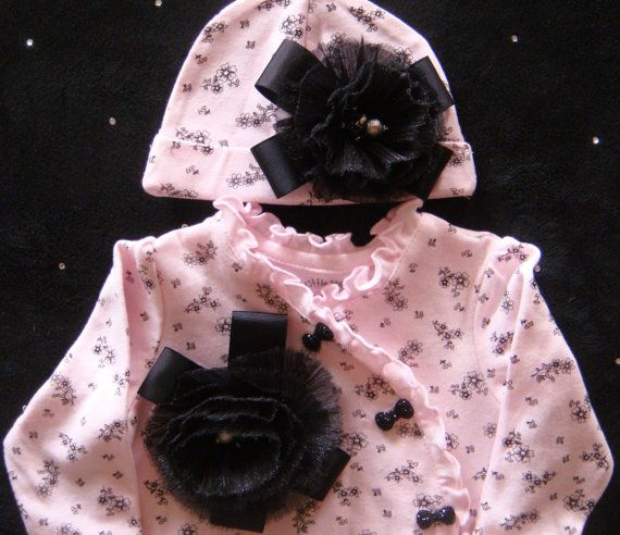 Baby girl onesie layette bodysuit footed pink and black baby diva black rhinestone bows big flower matching beanie on Etsy, $40.00
