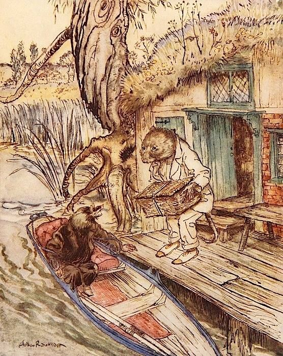 """This is said to be Arthur Rackham's last drawing. The artist had longed to illustrate """"The Wind in the Willows"""" and the chance came in 1939, when he was already ill with cancer, but he struggled through the commission and produced a work (published posthumously) that perfectly incarnates Grahame's tender adventure set in the Thames Valley."""
