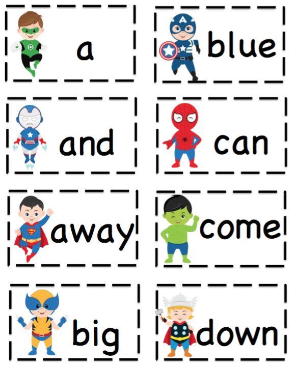 Free Superhero Pre-Primer Sight Word Cards ~ Preschool Printables