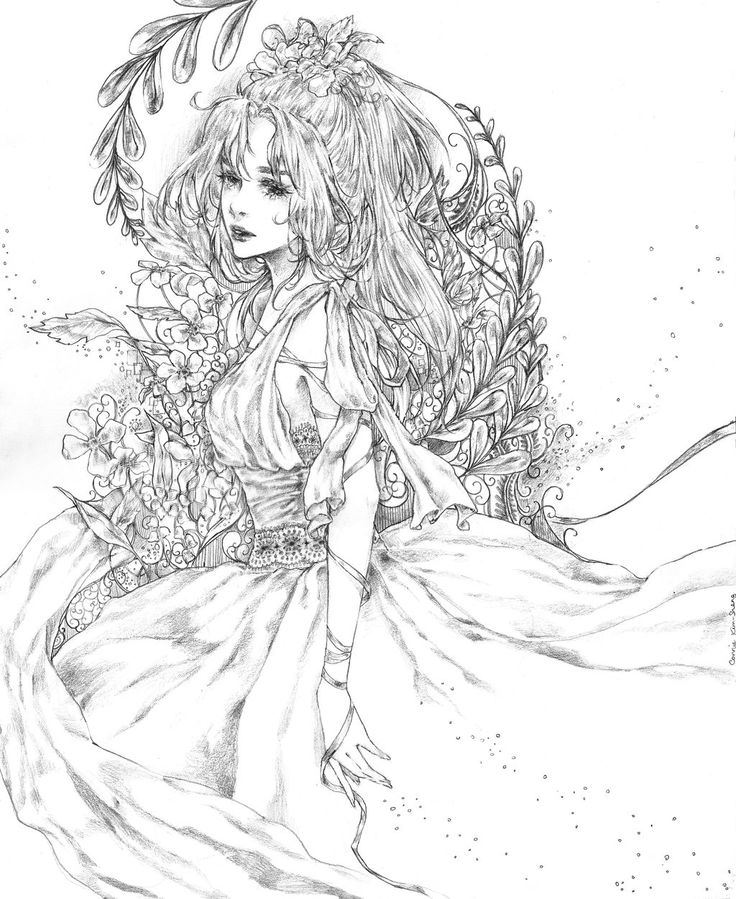 Based On Sweetly Chaotics Original Character Angelina Woman In Flowing Dress Ribbons Wrapped Around Arms Find This Pin And More A04 Coloring Books