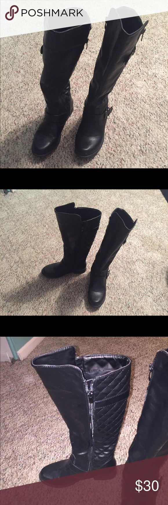 Black rider boots size 6 Cute black ridding boots Shoes Winter & Rain Boots