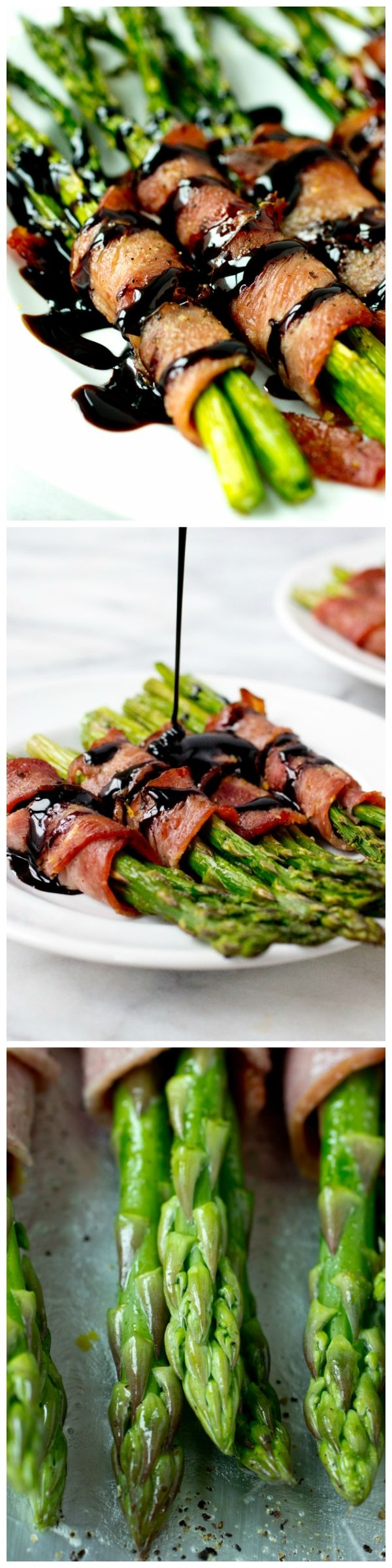 Bacon Wrapped Asparagus with Easy Homemade Balsamic Reduction - Vegetables are so much easier to get down the hatch when they're wrapped in bacon and drizzled in easy homemade balsamic reduction syrup!
