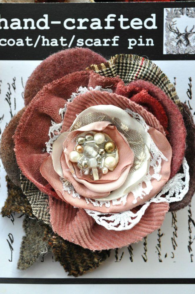 cream dusky pink rose flower corsage brooch dress pin 20s 50s vintage wedding XL