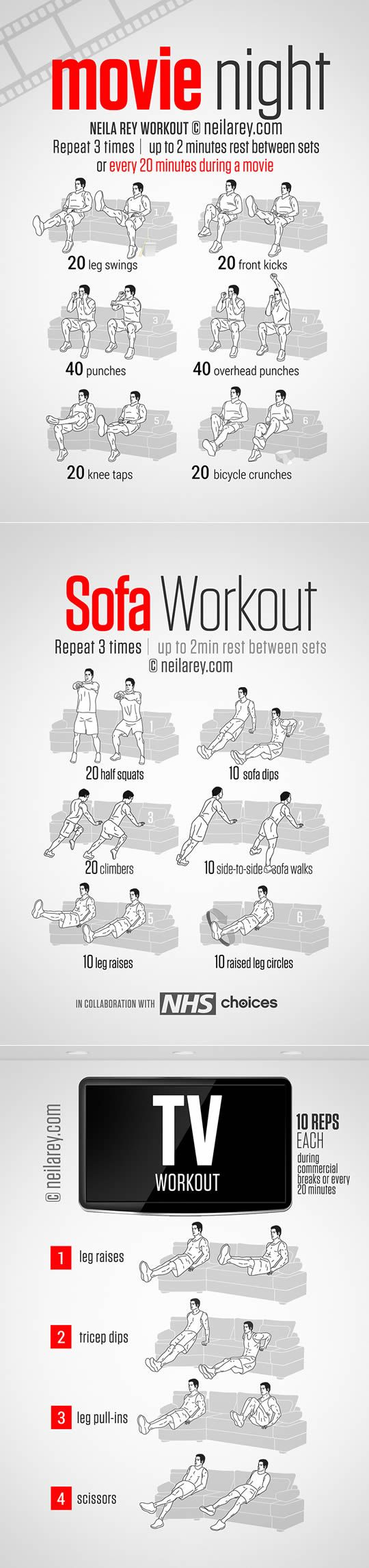Funny creative workout at home, doing workout while you watching movies or TV, even sitting in a sofa.