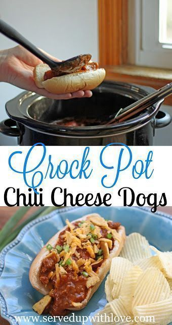 Crock Pot Chili Cheese Dogs recipe from Served Up With Love. A super easy weeknight meal that the entire family will love. http://www.servedupwithlove.com
