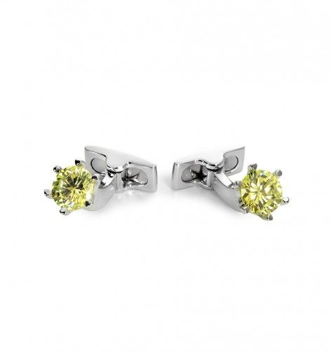 Miss Links 'Lily' chrysolite solitaire crystal cufflinks - green