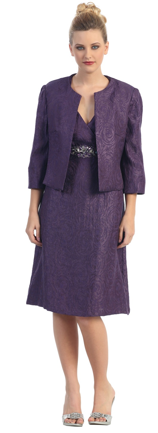 Plum Empire Waist Knee Length MOB Dress Rhinestone Long Sleeve Jacket $147.99