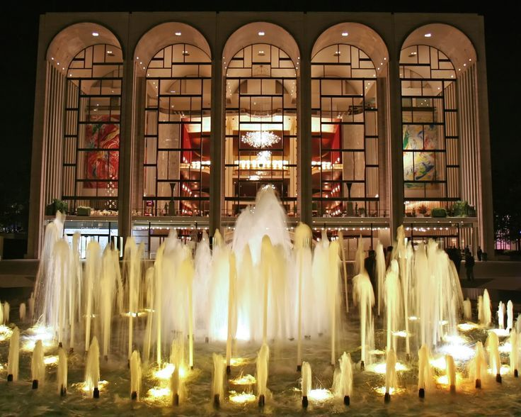 The Metropolitan Opera at Lincoln Center, on the Upper West Side of Manhattan in New York City, between West 62nd and 65th Streets and Columbus and Amsterdam Avenues.