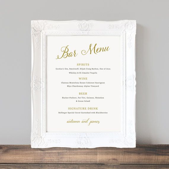 Printable wedding bar menu template wedding bar sign signature drinks cocktails custom for Wedding signs templates