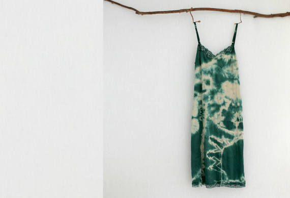 FOREST DWELLER . women's tie dye dress . size 14 . emerald