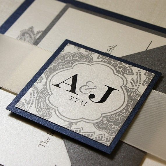 Midnight Silver Bellevue Wedding Invitation Suite by JWDPaperie
