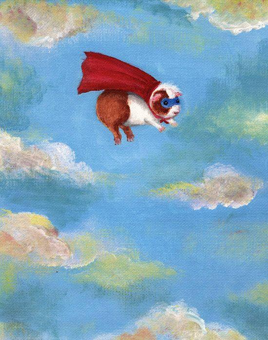 Guinea Pig Superhero Print by WhenGuineaPigsFly