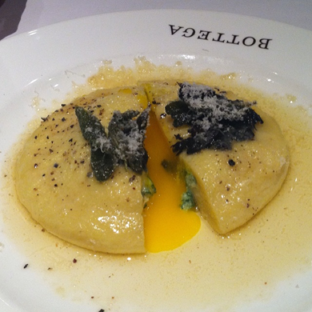 Ravioli stuffed with ricotta, spinach and an egg yolk at Bottega in ...