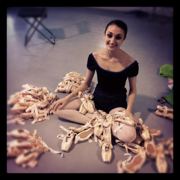 Katia Raj amongst all her Gaynor Minden pointe shoes... well, a girl can never have too many shoes.