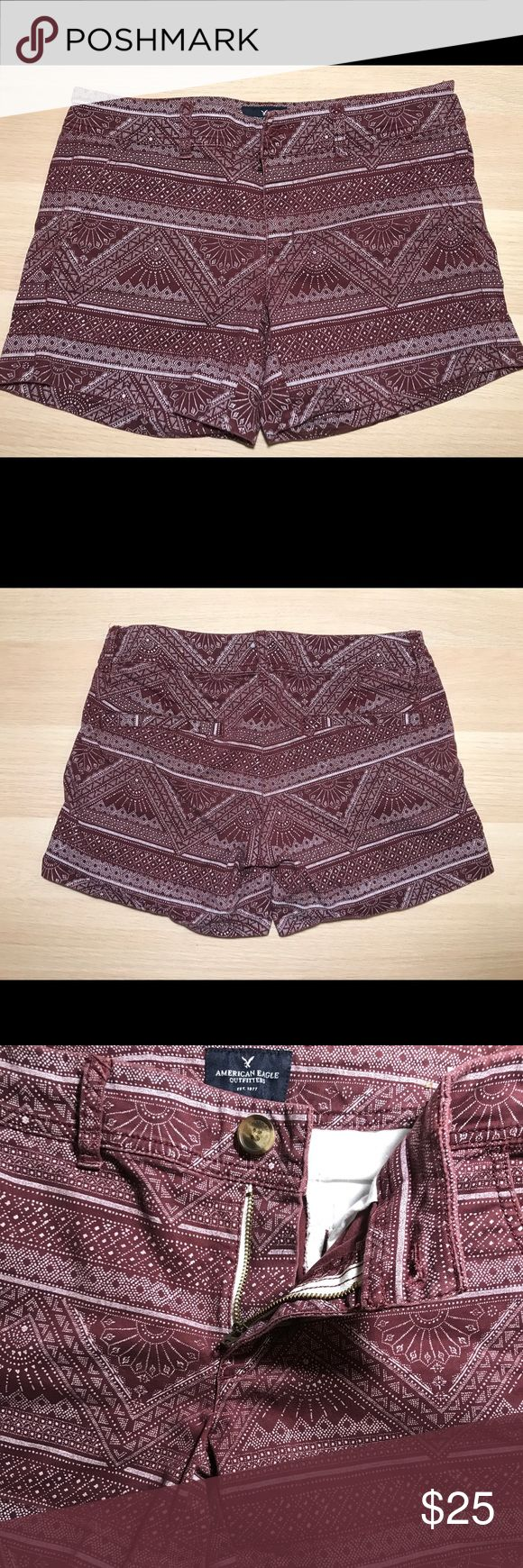 American Eagle Midi Stretch Maroon Shorts SIZE 6  Great Condition  Worn a handle of times - no frays, tears, stains, or marks. American Eagle Outfitters Shorts
