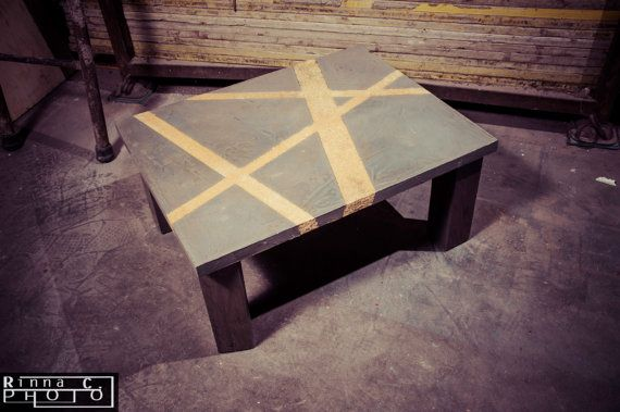 Coffee table with wooden spatula cement regenerated in relief sawdust.Industrial Style. on Etsy, $526.32